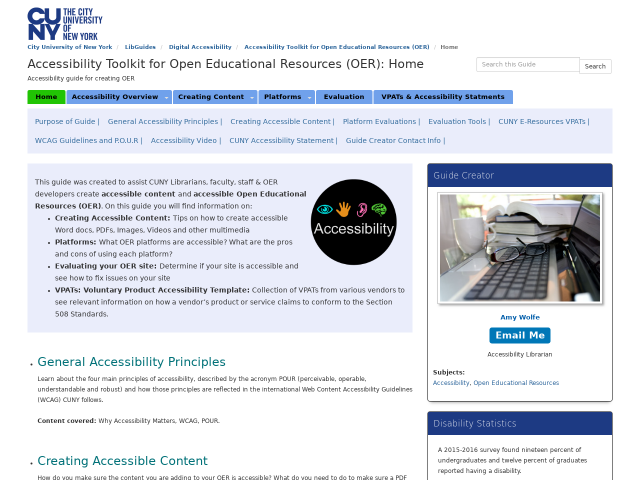 Home pg of Accessibilty Toolkit, click image to go to guide.