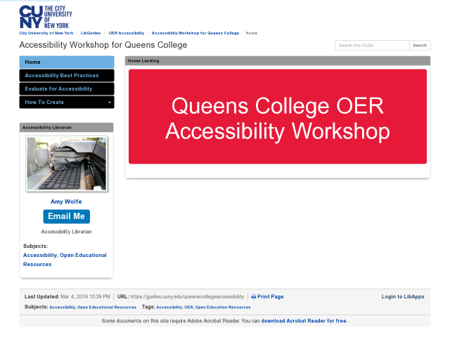 Home pg of Queens College OER workshop, click image to go to guide.
